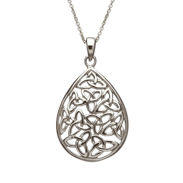 Keltische Kette Träne groß mit Trinity knot Silber