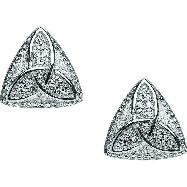 Keltische Ohrringe Trinity Knot Silber 925 mit Zirkon