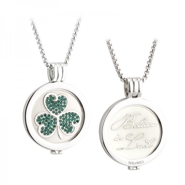 Irische Münzkollektion keltisches Kleeblatt mit Kristallen und Kette rhodiniert