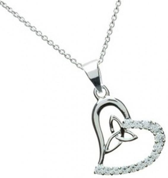 Keltischer Anhänger Herz Silber mit Trinity Knot