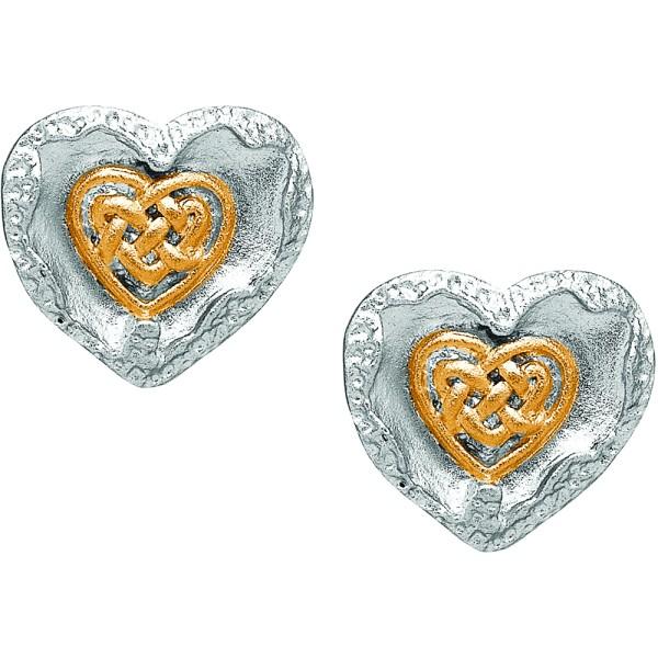 Gebürstete keltische Herzohrringe