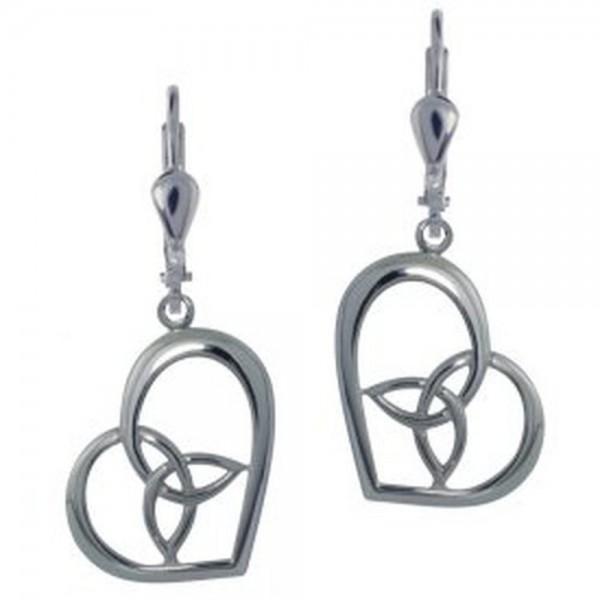 925 Silber Ohrringe Herz und Trinity Knot