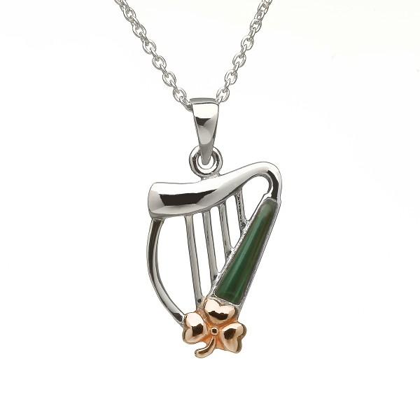 Keltischer Anhänger Harfe Silber