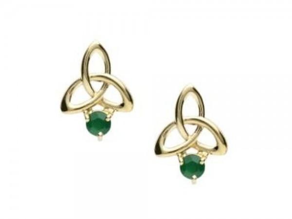 Keltische Ohrringe 10 ct Gold mit Achat - Irischer Schmuck