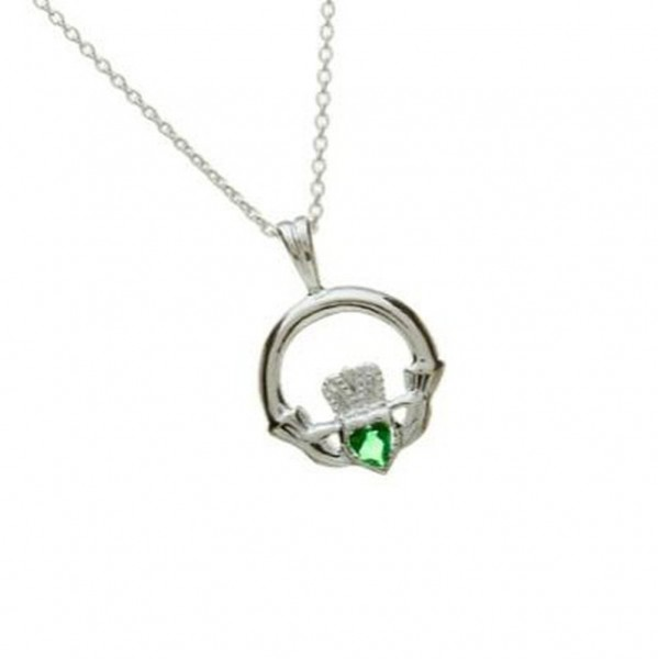 Irischer Claddagh Anhänger mit Kette Silber mit grünem Achat