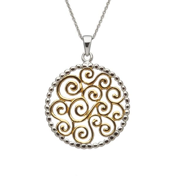 Keltischer runder Anhänger groß Silber mit vergoldetem keltischen Design