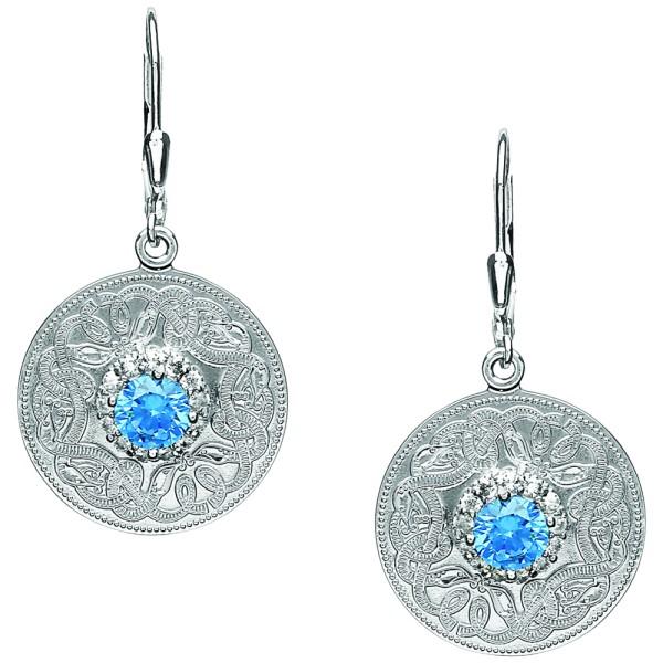 Irische Ohrringe Medium mit Schweizer Zirkonen blau.