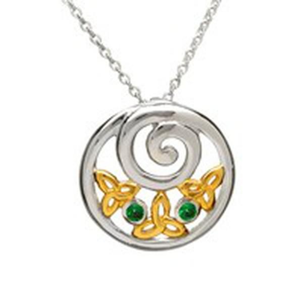 Irische Kette vergoldete Trinity Knot rund Silber mit grünem Zirkon