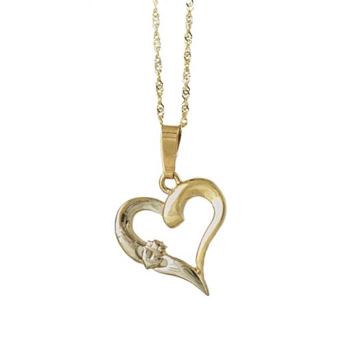 Irische Kette Herz und Claddagh aus 10 Karat Gold 416