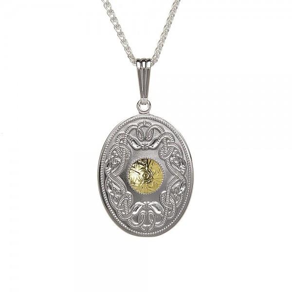 Irische Kette Celtic Warrior Silber und 18 Karat Gold