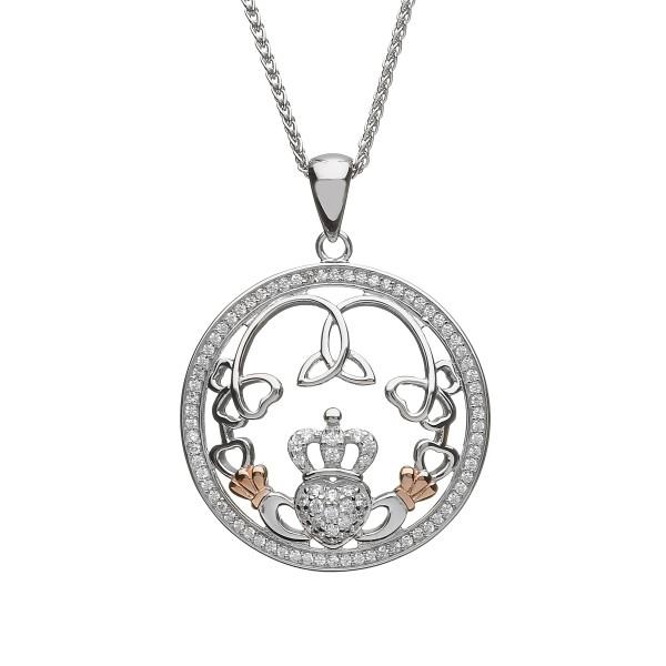 Kette Silber 925 mit keltischem Claddagh und Trinity Anhänger Manschetten aus Rosegold und Zirkonia