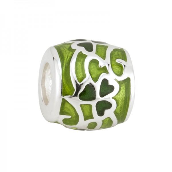 Celtic Bead Grünes Kleeblatt knot Silber