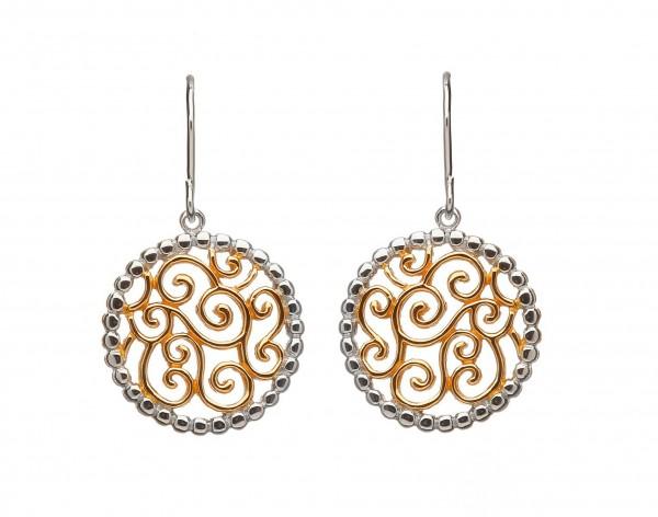 Ohrringe  keltische Wellen Silber mit Gold