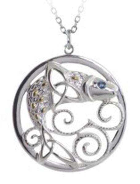 Irischer Schmuck Keltischer Anhänger Lachs des Wissens Silber 925