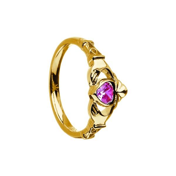 Irischer Ring Geburtsstein Oktober Tourmaline in Silber oder Gold