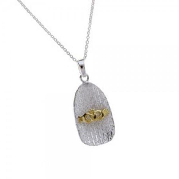 Claddagh Anhänger Silber 925 mit Gold