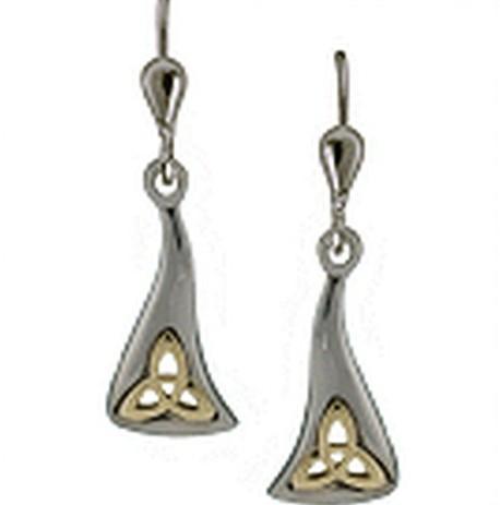 Keltische Ohrringe Trinity Knot Silber 925 und 585 Gold