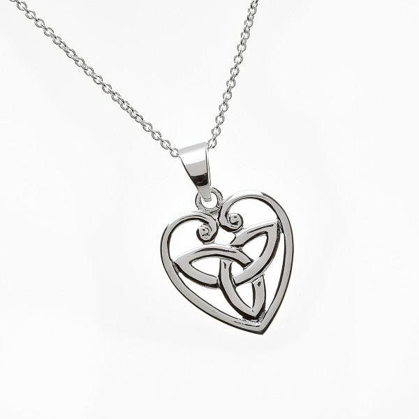 Trinity Knot mit Anhänger Herz aus Silber
