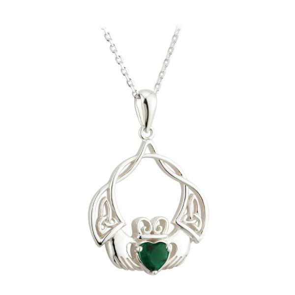 Keltischer Claddagh Anhänger mit Kette aus Silber