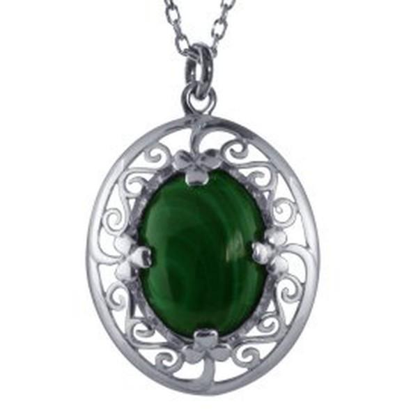 Keltischer Anhänger aus Silber mit Malachit