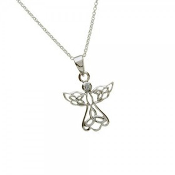Keltische Kette Engel Silber mit Zirkon