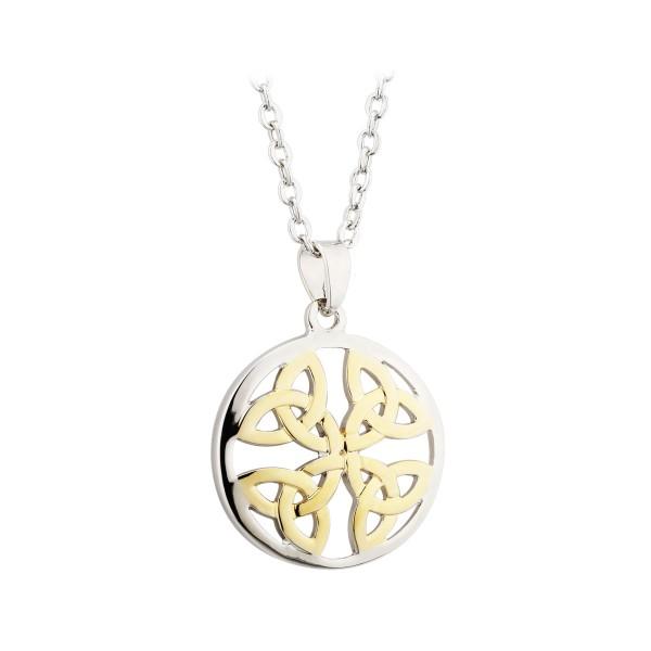 Keltischer Anhänger Trinity Knot zweifarbig rund Tara Kollektion