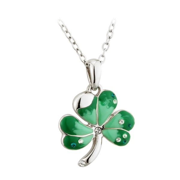 Kette irisches Kleeblatt rhodiniert grün