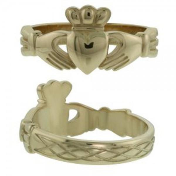 Irischer Herren Claddagh Rng mit keltischen Wellen Gold 375