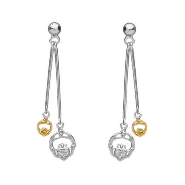 Silber 925 doppelte hängende Claddagh Ohrringe
