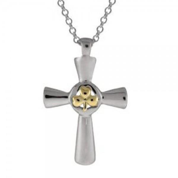 Keltisches Kreuz Kleeblatt Gold und Silber