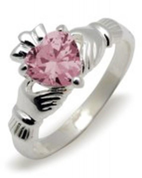 Irischer Claddagh Ring Geburtsstein Oktober Silber 925