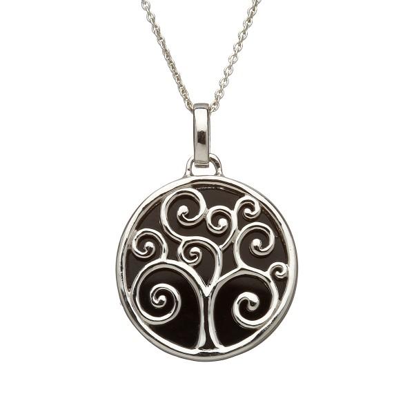 Anhänger Silber Bäume des Lebens mit schwarzem Untergrund