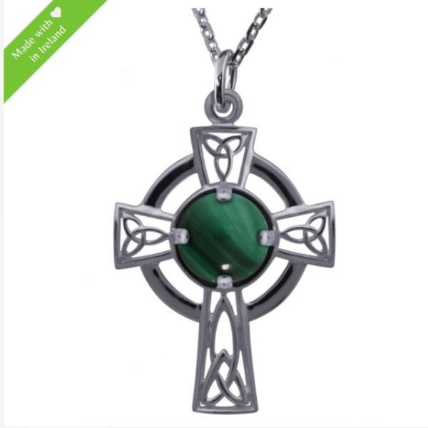 Keltisches Kreuz aus Silber mit Malachit