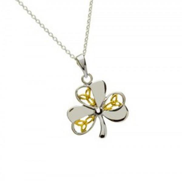 Irische Kette Trinity Knot und Kleeblatt zweifarbig in Silber vergoldet