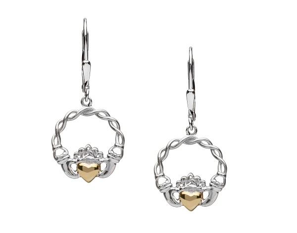Claddagh Ohrringe aus Silber mit 10 Karat Gold massiv Herz - Tropfen
