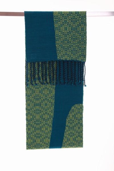 Handgewebter Schal Emerald Smaragd Wolle Iskon Mode