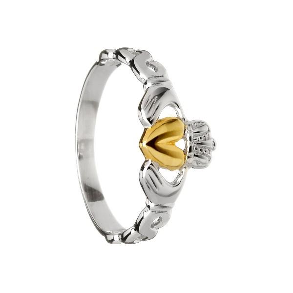 Keltischer Claddagh Ring mit offenen keltischen Design Silber
