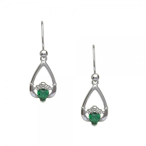 Claddagh Ohrringe Geburtsstein Smaragd Mai Silber