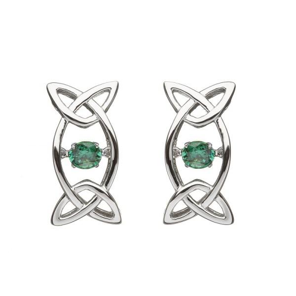 Keltische Ohrringe Trinity Knot mit grünen Zirkonia Silber 925