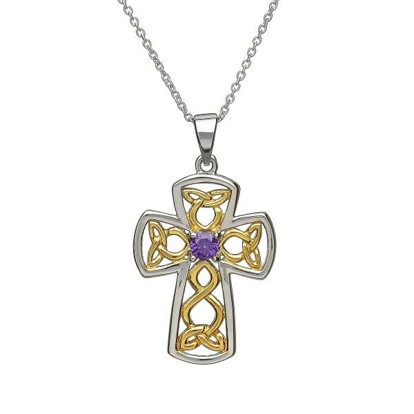 Keltisches Kreuz Trinity Knot aus Silber 925 vergoldet Zirkon