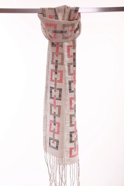 Handgewebter Schal Light squares Leinen Baumwolle