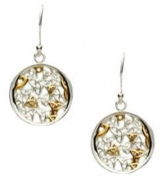 Ohrringe Trinity Silber und Gold